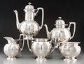 Silver Holloware, American:Tea Sets, A Five-Piece Tiffany & Co. Silver Tea and Coffee Service withGriffin Motif, New York, New York, circa 1854-1869. Marks: T...(Total: 5 Items)