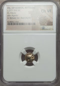 Ancients:Greek, Ancients: LESBOS. Mytilene. Ca. 377-326 BC. EL sixth stater orhecte. NGC Choice VF....