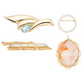 Estate Jewelry:Brooches - Pins, Diamond, Multi-Stone, Cultured Pearl, Gold Brooches. ... (Total: 4 Items)