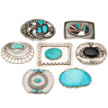 Estate Jewelry:Other, Turquoise, Black Onyx, Mother-of-Pearl, Sterling Silver BeltBuckles. . ... (Total: 7 Items)