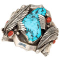 Estate Jewelry:Bracelets, Turquoise, Coral, Silver Cuff Bracelet. . ...
