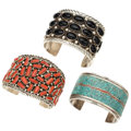 Estate Jewelry:Bracelets, Turquoise, Coral, Black Onyx, Silver Cuff Bracelets. . ... (Total:3 Items)