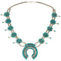 Estate Jewelry:Necklaces, Navajo Turquoise, Sterling Silver Squash Blossom Necklace, PaulJones. . ...