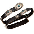 Estate Jewelry:Other, Navajo Turquoise, Silver, Leather Concho Belt. . ...