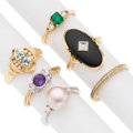 Estate Jewelry:Rings, Diamond, Multi-Stone, Freshwater Cultured Pearl, Gold Rings. . ...(Total: 6 Items)
