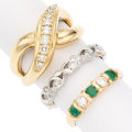 Estate Jewelry:Rings, Diamond, Emerald, Gold Rings. . ... (Total: 3 Items)