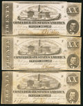 Confederate Notes:1862 Issues, T51 $20 1862 Three Examples.. ... (Total: 3 notes)