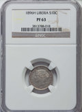 Liberia, Liberia: Republic Proof 10 Cents 1896-H PR63 NGC,...
