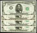 Small Size:Federal Reserve Notes, Fr. 1965-B* $5 1950D Federal Reserve Star Notes. Four Examples. Choice Crisp Uncirculated.. ... (Total: 4 notes)