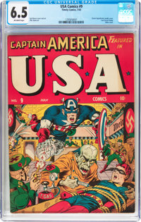 USA Comics #9 (Timely, 1943) CGC FN+ 6.5 Off-white pages