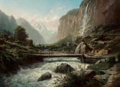 Fine Art - Painting, European:Antique  (Pre 1900), Leberecht Lortet (French, 1826-1901). An Alpine landscape with abridge over a fast-moving river. Oil on canvas. 19 x 26...