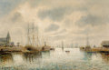 Fine Art - Painting, European:Antique  (Pre 1900), P. Marett (French, 19th Century). Fishing Boats in Zaandam Harbor. Oil on canvas. 26 x 41 inches (66.0 x 104.1 cm). Sign...