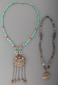 Asian:Chinese, Two Chinese Turquoise, Silver Plated, and Carved Agate Necklaces,20th century. Marks: (character marks to pendant). 21-1/2 ...(Total: 2 Items)