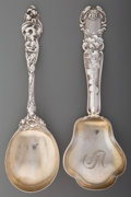 Silver Flatware, American, Two Gorham and Reed & Barton Silver Floral Serving Spoons,Providence, Rhode Island & Taunton, Massachusetts, circa 1904.Ma... (Total: 2 Items)