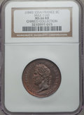 France, France: Louis Philippe copper Essai 5 Centimes ND (1840) MS66 Red and Brown NGC,...