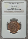 Liberia, Liberia: Republic Cent 1906-H MS63 Red and Brown NGC,...