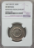 Brazil, Brazil: Pedro II 400 Reis 1847 XF Details (Removed from Jewelry) NGC,...