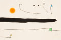 Fine Art - Work on Paper:Print, Joan Miró (Spanish, 1893-1983). Untitled, pl. 1, from Lemarteau sans maître, 1976. Etching with aquatint in colors ...