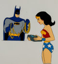Animation Art:Production Cel, Super Friends Wonder Woman and Batman Production Cel Setup(c. 1970s-1980s)....