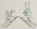 Animation Art:Production Drawing, Roller Coaster Rabbit Roger Rabbit Original StoryboardDrawing (Walt Disney, 1988)....