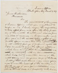 Autographs:Statesmen, [Denver, Colorado]: James W. Denver Letter of Resignation....