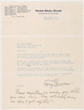 Autographs:U.S. Presidents, Harry S. Truman Letter Signed with Holographic Postscript. ...