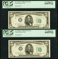 Small Size:Federal Reserve Notes, Fr. 1963-B* $5 1950B Federal Reserve Star Notes. Two Examples. PCGS Very Choice New 64PPQ.. ... (Total: 2 notes)