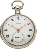 Timepieces:Pocket (pre 1900) , Barwise London Very Fine Silver Pocket Chronometer, No. 4387, circa1776. ...