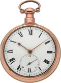 Timepieces:Pocket (pre 1900) , Robert Roskell Liverpool Fusee With 15 Second Subsidiary StopFunction, circa 1830. ...