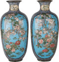 Asian:Japanese, A Monumental Pair of Japanese Cloisonné Vases, Taisho Period.35-1/2 inches high (90.2 cm). ... (Total: 2 Items)