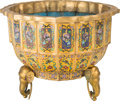 Asian:Chinese, A Chinese Famille Jaune Cloisonné and GIlt Bronze-Mounted Planter,late 20th century. 17 inches high x 21-1/2 inches diamete...