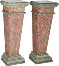 Paintings, A Pair of Verde and Rouge Variegated Marble Engaged Wall Pedestals. 43-1/2 inches high x 15-5/8 inches wide (110.5 x 39.7 cm... (Total: 2 Items)
