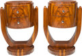 Furniture , A Pair of Art Deco-Style Lacquered Rosewood Side Tables, 21st century. 30-3/8 inches high x 21-1/2 inches wide (77.2 x 54.6 ... (Total: 2 Items)