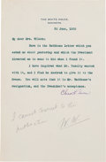 Autographs:U.S. Presidents, Woodrow Wilson Autograph Note Signed ...