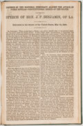 Political:Small Paper (pre-1896), [Breckinridge & Lane]: 1860 Speech of Judah P. Benjamin....