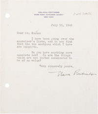 First Lady Eleanor D. Roosevelt Typed Letter Signed