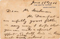 Autographs:U.S. Presidents, Theodore Roosevelt Autograph Letter Signed on a White House Card,...
