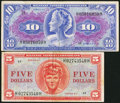Military Payment Certificates:Series 611, Series 611 $5; $10 Fine.. ... (Total: 2 notes)