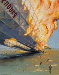 Fine Art - Painting, American:Modern  (1900 1949)  , 20th Century School. Lakehurst Hindenburg Disaster. Oil onboard. 13-1/2 x 10-1/2 inches (34.3 x 26.7 cm). Titled and in...