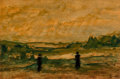 Works on Paper, Maximilien Luce (French, 1858-1941). Pastoral Landscape. Oil on paper. 8-1/8 x 11-3/4 inches (20.6 x 29.8 cm) (sheet). S...