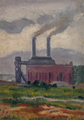 Fine Art - Painting, American:Modern  (1900 1949)  , Harry St. John Dix (American, 1907-1968). The Factory. Oilon canvasboard. 13-3/4 x 9-3/4 inches (34.9 x 24.8 cm). Signe...