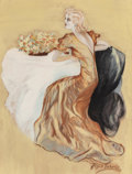Fine Art - Painting, American:Modern  (1900 1949)  , Alyce Roberts (American, 20th Century). The Evening Gown,1933. Gouache on board. 16 x 12 inches (40.6 x 30.5 cm). Signe...