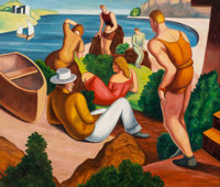 After Thomas Hart Benton (American, 1889-1975) The Beach Oil on panel 22-1/4 x 26-1/2 inches (56