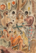 Fine Art - Work on Paper:Watercolor, Ellen Carpenter (American, 1906-1986). Masquerade.Watercolor on paper. 21-1/2 x 14-3/4 inches (54.6 x 37.5 cm)(sight)...