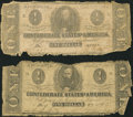 Confederate Notes:Group Lots, Pair of Confederate $1 1862-63. ... (Total: 2 notes)