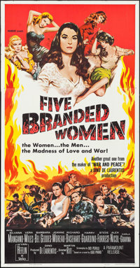 "Five Branded Women & Other Lot (Paramount, 1960). Three Sheets (2) (41"" X 79""). War. ... (Total: 2 Ite..."