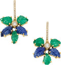 Estate Jewelry:Earrings, Emerald, Sapphire, Diamond, Gold Earrings, Piranesi. ... (Total: 2Items)