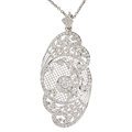 Estate Jewelry:Necklaces, Diamond, White Gold Pendant-Brooch-Necklace. ...