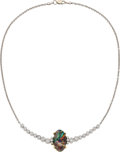 Estate Jewelry:Necklaces, Black Opal, Diamond, Gold Necklace. ...