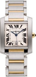 Estate Jewelry:Watches, Cartier Unisex Gold, Stainless Steel Tank Francaise Watch. ...